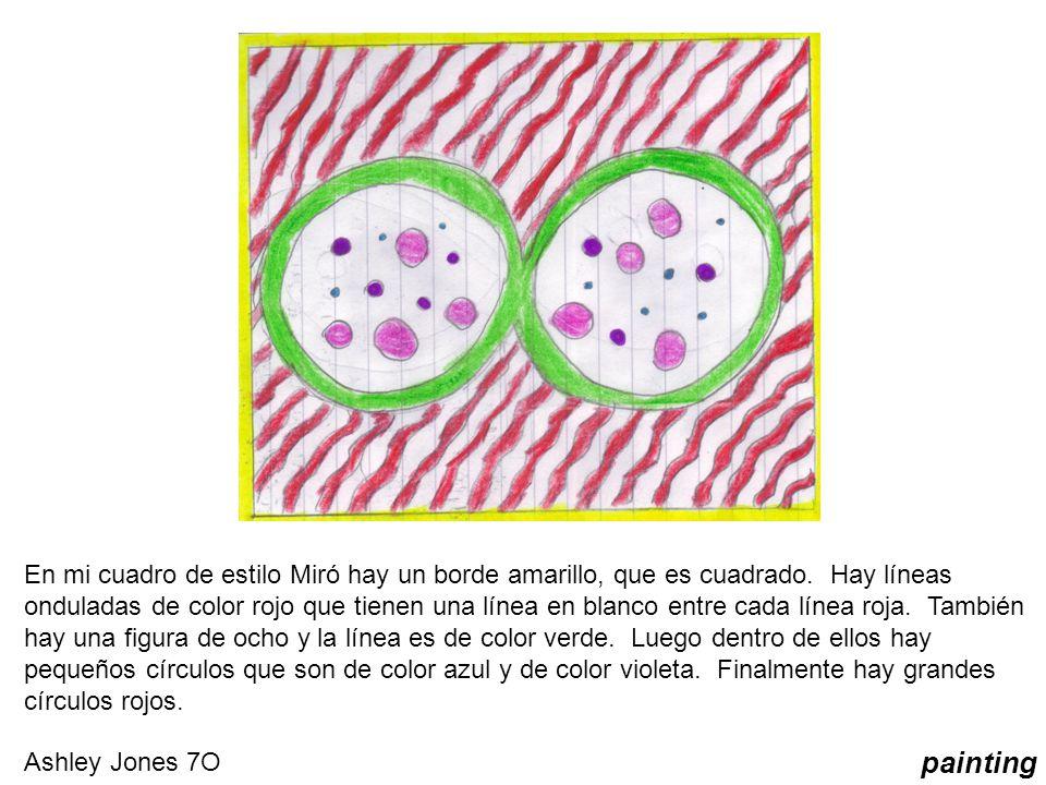 En mi cuadro de estilo Miró hay un borde amarillo, que es cuadrado