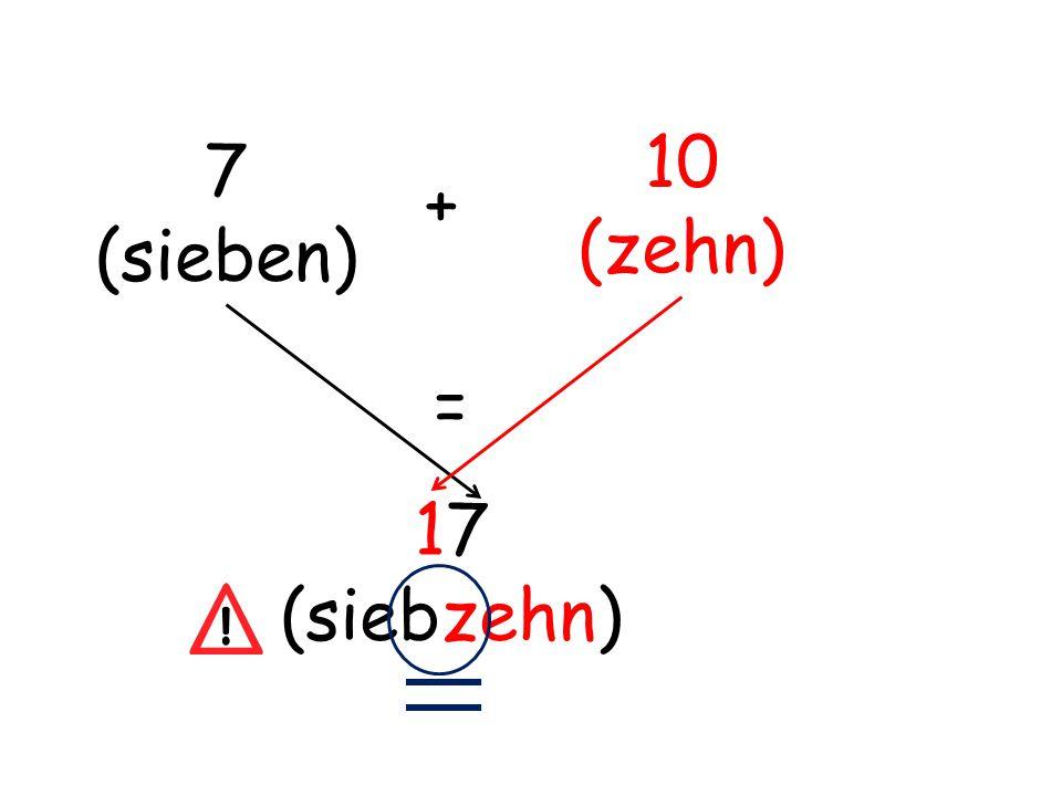 10 (zehn) 7 (sieben) + = 17 (siebzehn)