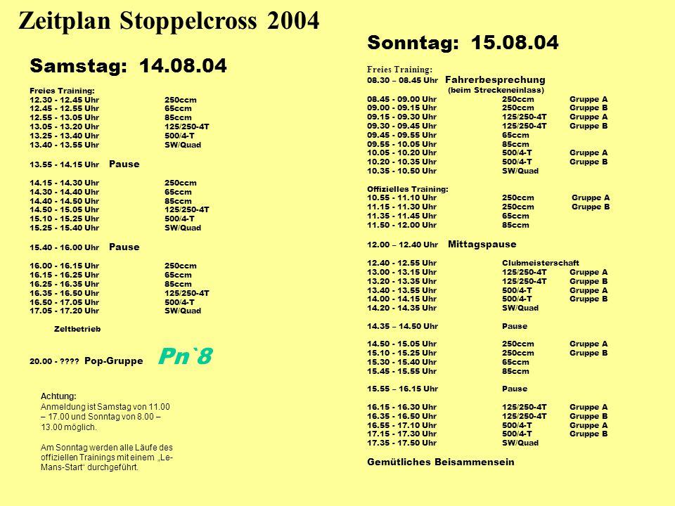 Zeitplan Stoppelcross 2004