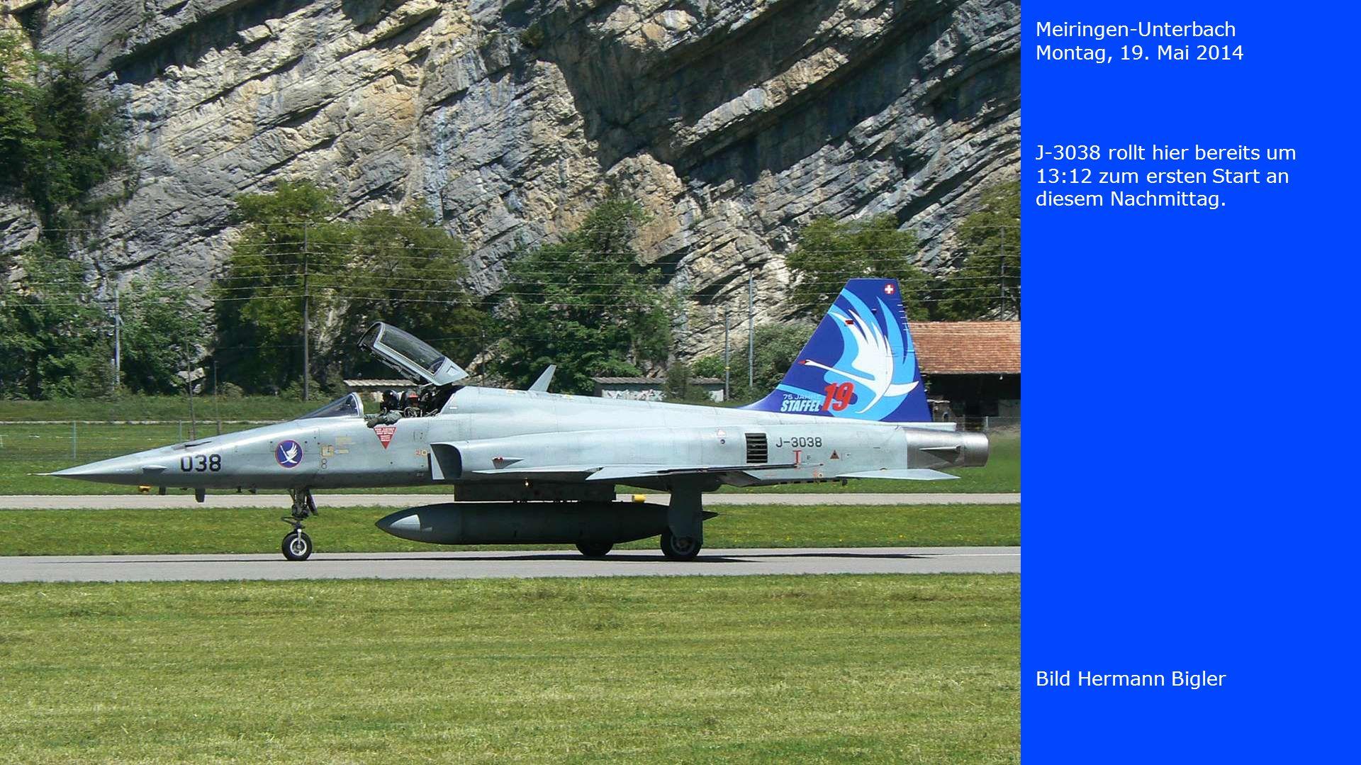 Meiringen-Unterbach Montag, 19. Mai 2014. J-3038 rollt hier bereits um 13:12 zum ersten Start an diesem Nachmittag.