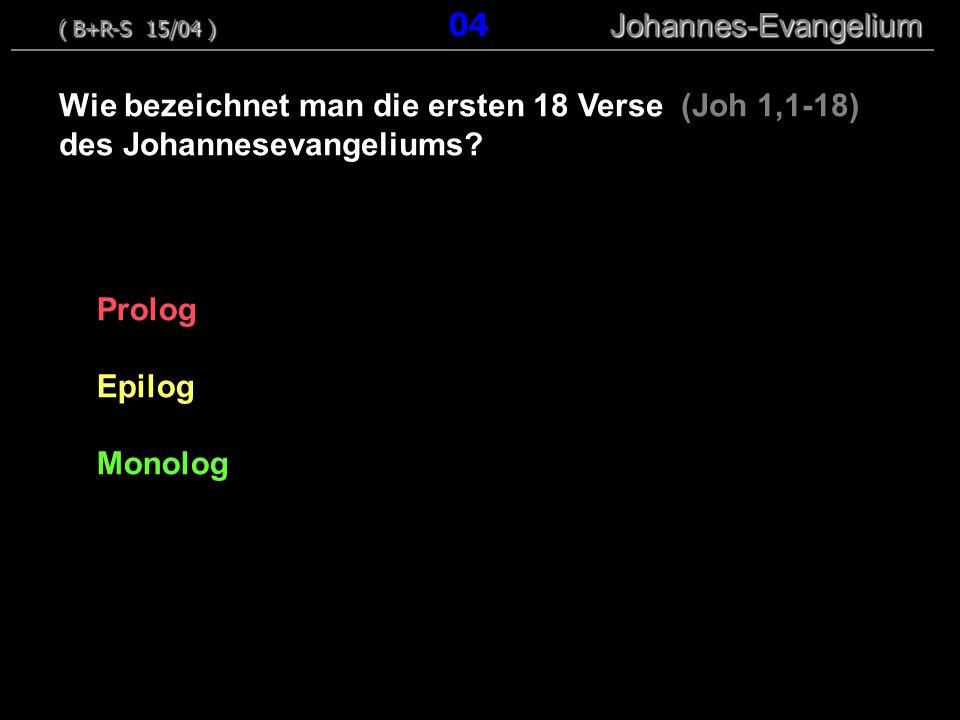Wie bezeichnet man die ersten 18 Verse (Joh 1,1-18)