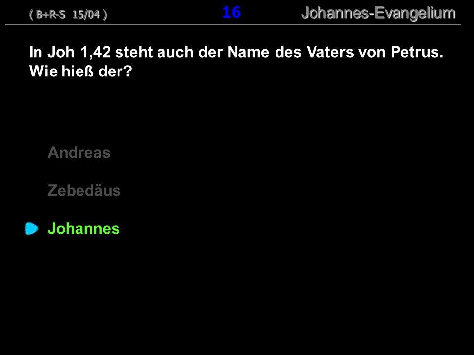 In Joh 1,42 steht auch der Name des Vaters von Petrus. Wie hieß der