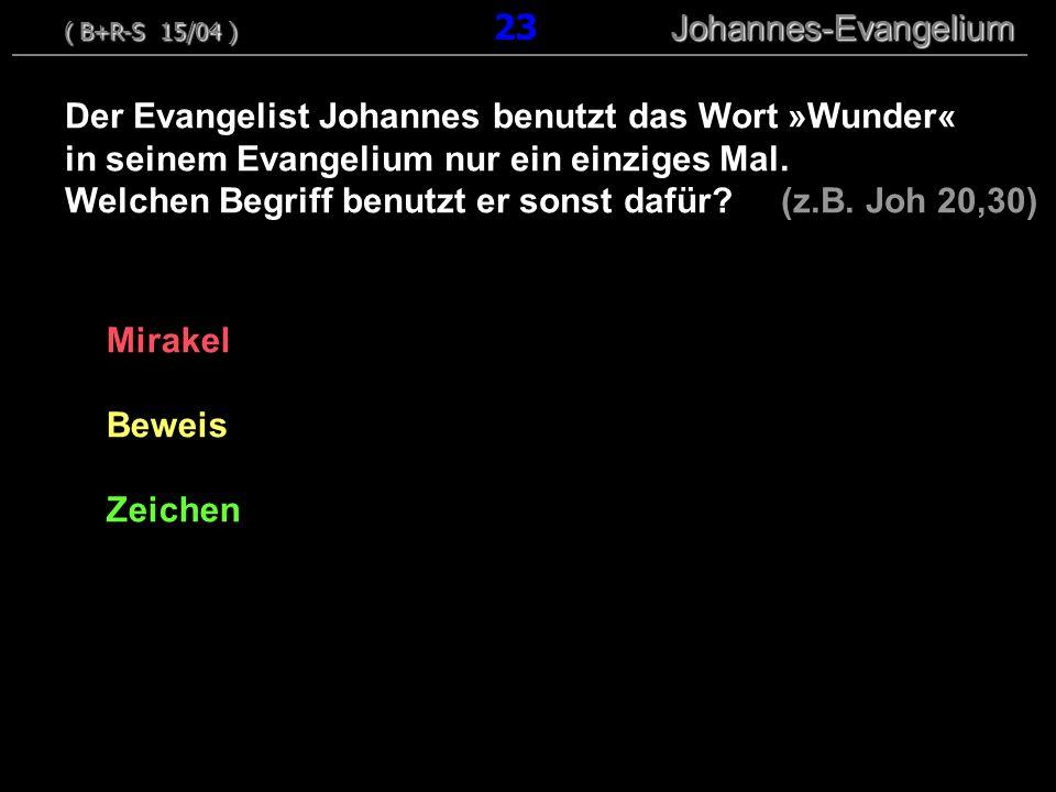 Der Evangelist Johannes benutzt das Wort »Wunder«