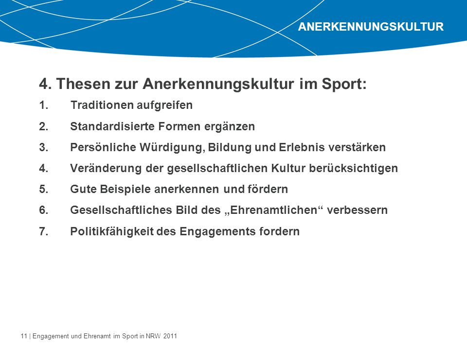 4. Thesen zur Anerkennungskultur im Sport: