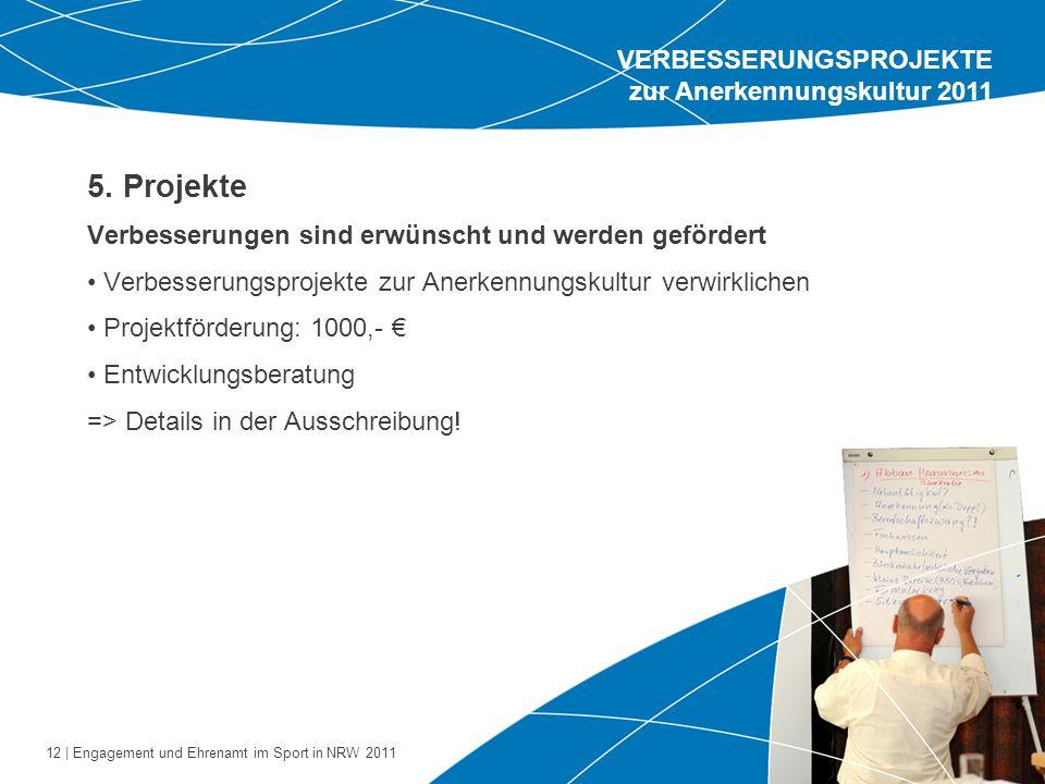 5. Projekte VERBESSERUNGSPROJEKTE zur Anerkennungskultur 2011