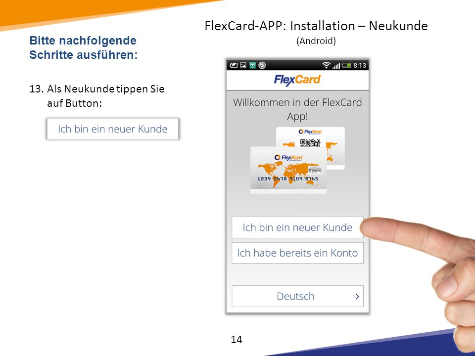 FlexCard-APP: Installation – Neukunde (Android)