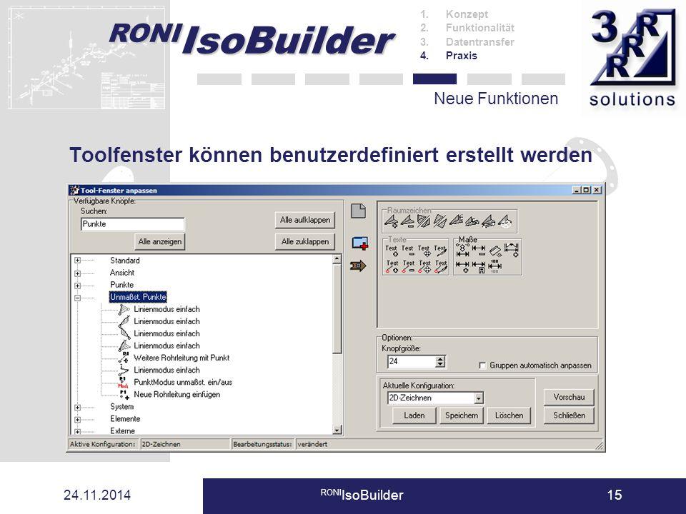 Toolfenster können benutzerdefiniert erstellt werden