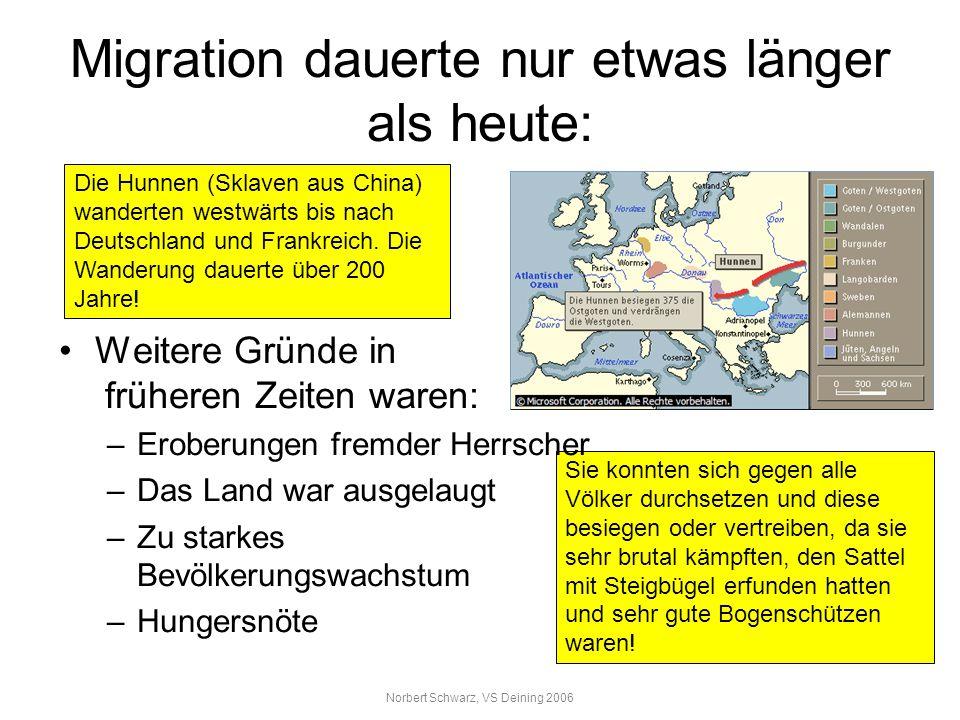 Migration dauerte nur etwas länger als heute: