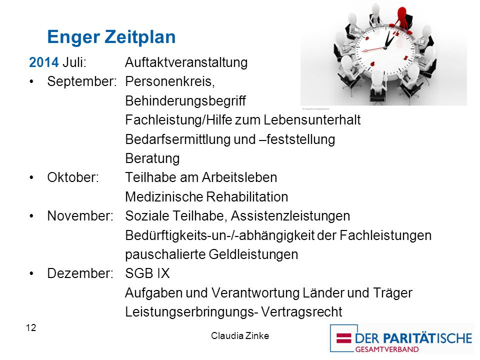 Enger Zeitplan 2014 Juli: Auftaktveranstaltung