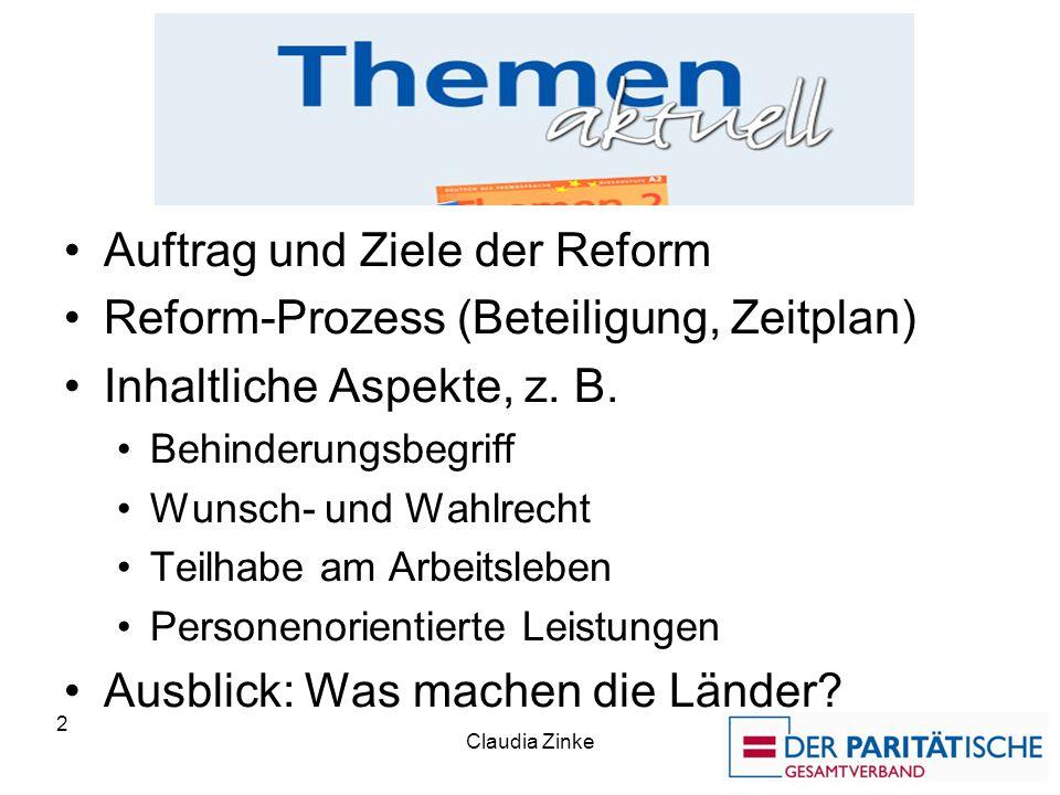 Die Themen Auftrag und Ziele der Reform