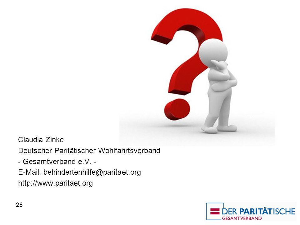Claudia Zinke Deutscher Paritätischer Wohlfahrtsverband. - Gesamtverband e.V. - E-Mail: behindertenhilfe@paritaet.org.