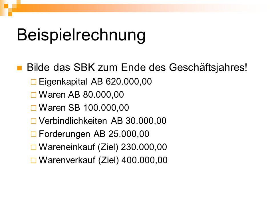 Beispielrechnung Bilde das SBK zum Ende des Geschäftsjahres!