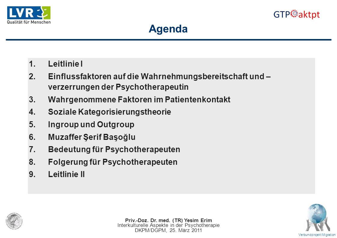 Agenda Leitlinie I. Einflussfaktoren auf die Wahrnehmungsbereitschaft und –verzerrungen der Psychotherapeutin.