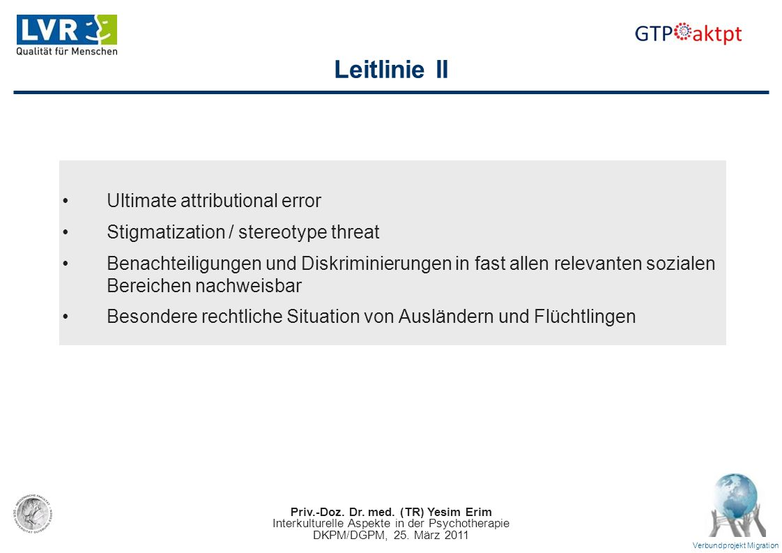 Leitlinie II Ultimate attributional error