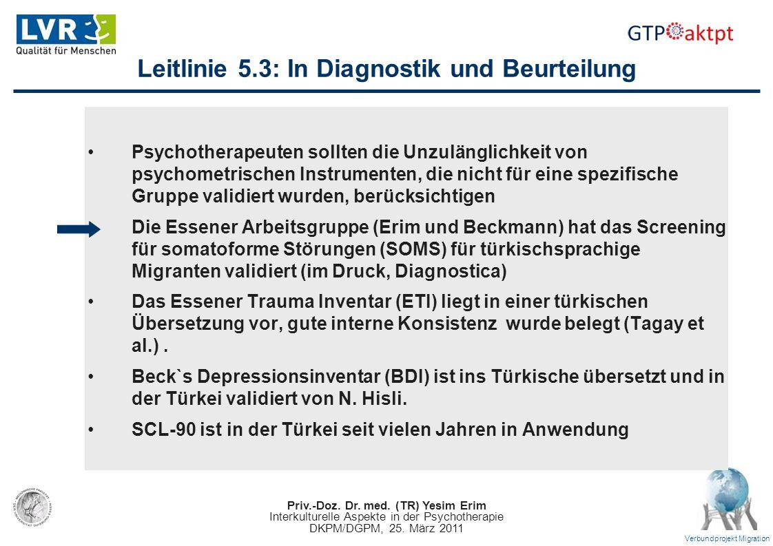 Leitlinie 5.3: In Diagnostik und Beurteilung