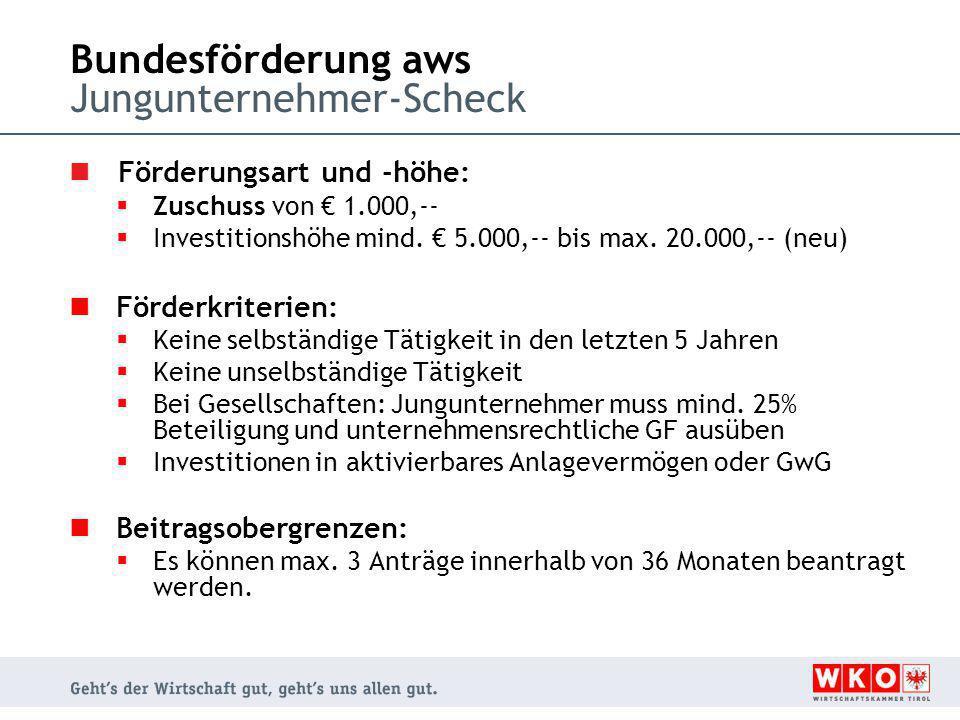 Bundesförderung aws Jungunternehmer-Scheck