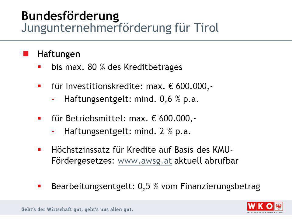Bundesförderung Jungunternehmerförderung für Tirol