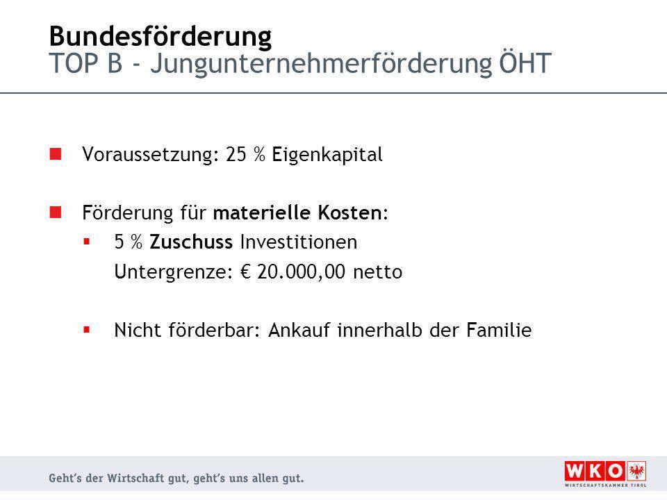 Bundesförderung TOP B - Jungunternehmerförderung ÖHT