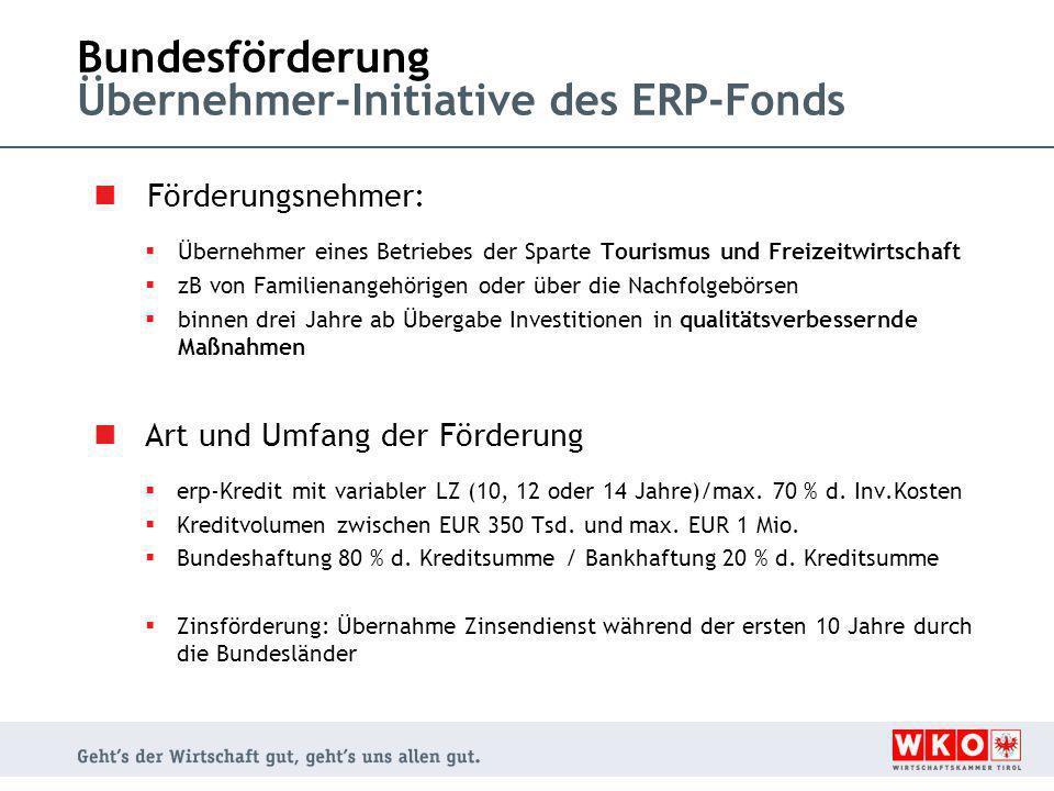 Bundesförderung Übernehmer-Initiative des ERP-Fonds