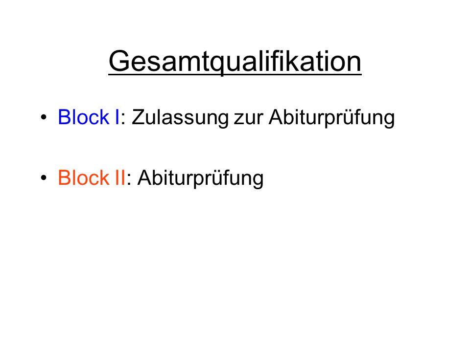 Gesamtqualifikation Block I: Zulassung zur Abiturprüfung