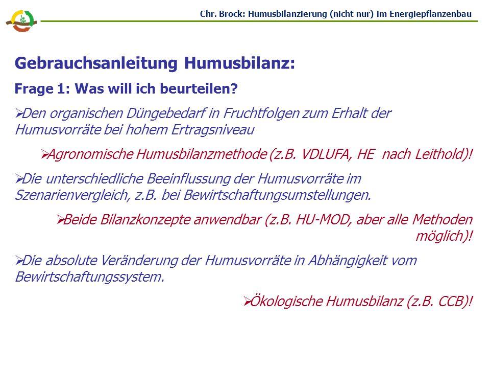 Gebrauchsanleitung Humusbilanz:
