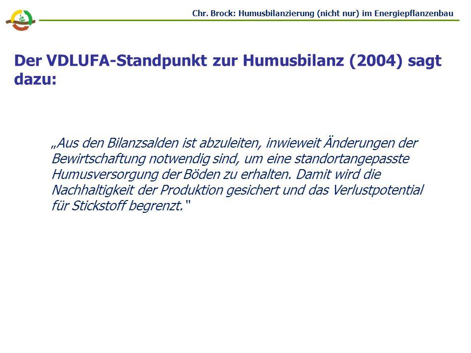Der VDLUFA-Standpunkt zur Humusbilanz (2004) sagt dazu: