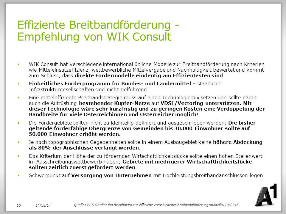 Effiziente Breitbandförderung - Empfehlung von WIK Consult