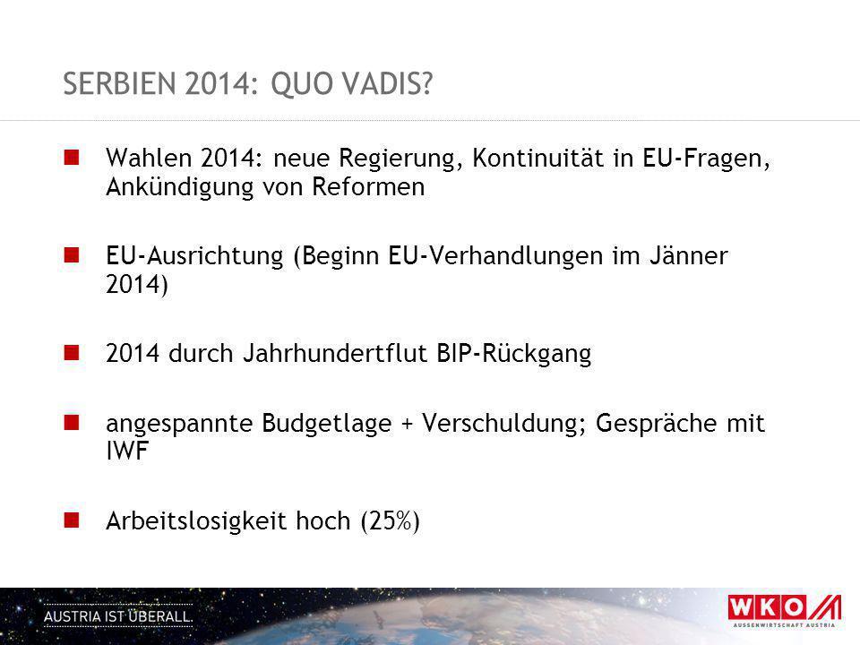 Serbien 2014: quo VADIS Wahlen 2014: neue Regierung, Kontinuität in EU-Fragen, Ankündigung von Reformen.