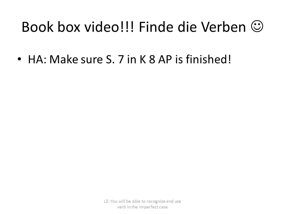 Book box video!!! Finde die Verben 