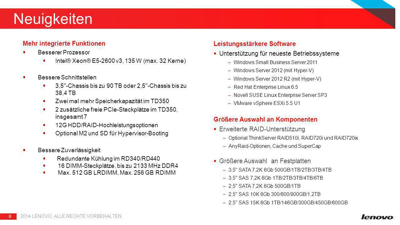 Neuigkeiten Mehr integrierte Funktionen. Besserer Prozessor. Intel® Xeon® E5-2600 v3, 135 W (max. 32 Kerne)