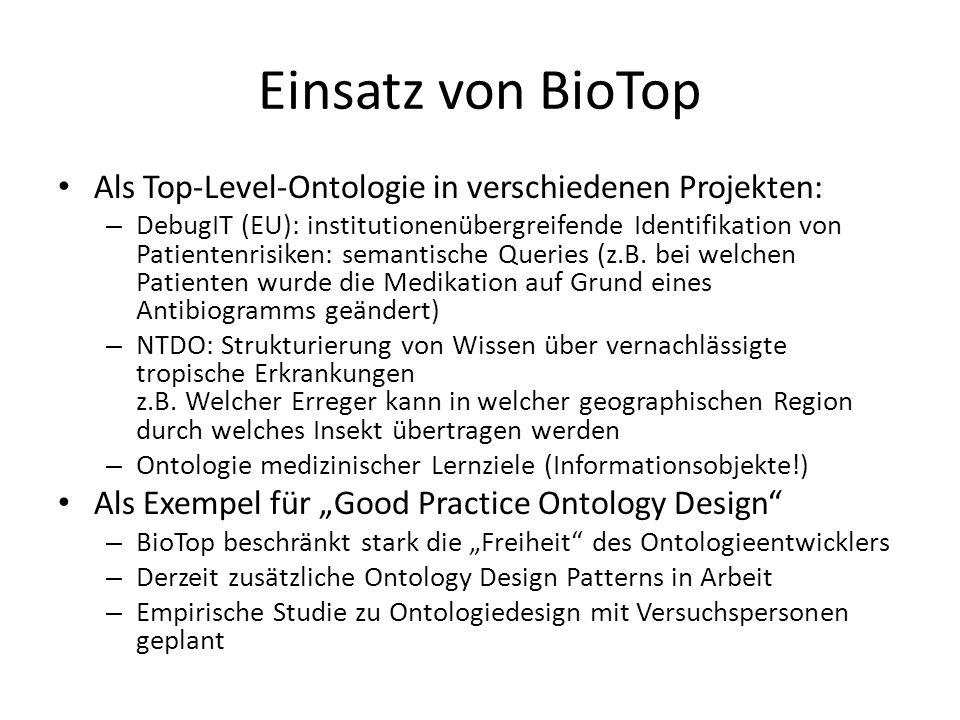 Einsatz von BioTop Als Top-Level-Ontologie in verschiedenen Projekten: