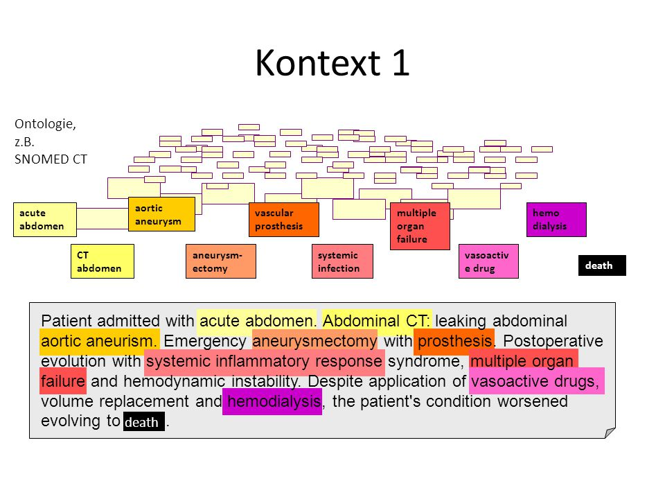 Kontext 1 Ontologie, z.B. SNOMED CT. aortic aneurysm. acute abdomen. multiple organ failure.