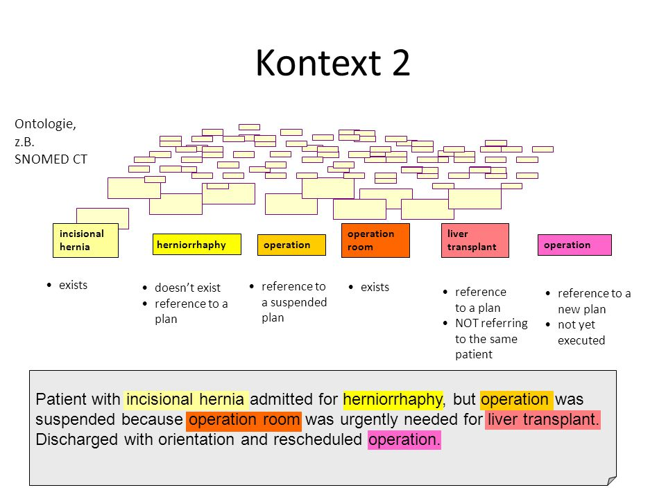 Kontext 2 Ontologie, z.B. SNOMED CT. incisional hernia. operation room. liver transplant. herniorrhaphy.