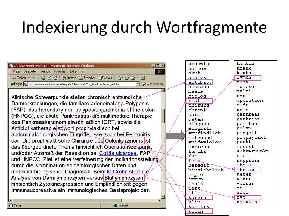Indexierung durch Wortfragmente