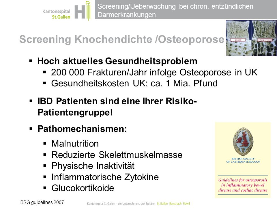 Screening Knochendichte /Osteoporose