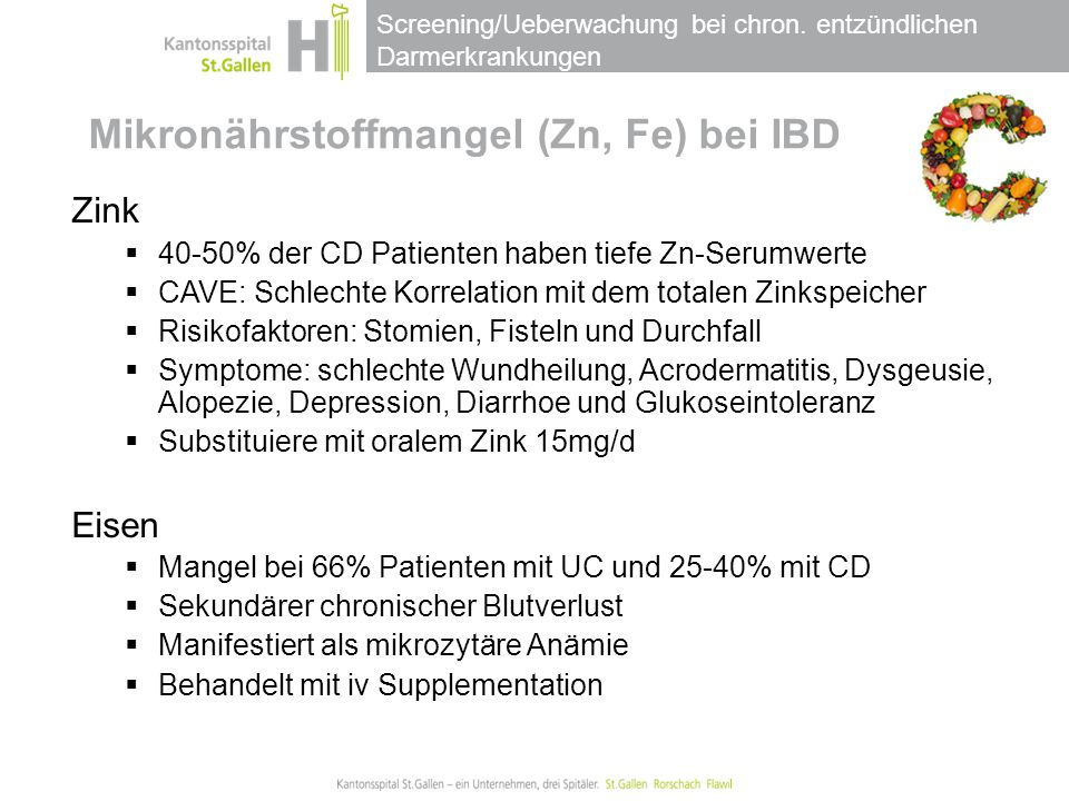 Mikronährstoffmangel (Zn, Fe) bei IBD