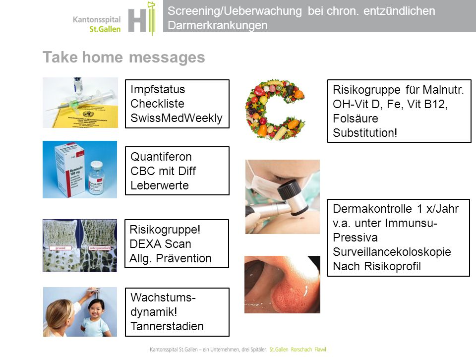 Take home messages Impfstatus Risikogruppe für Malnutr. Checkliste
