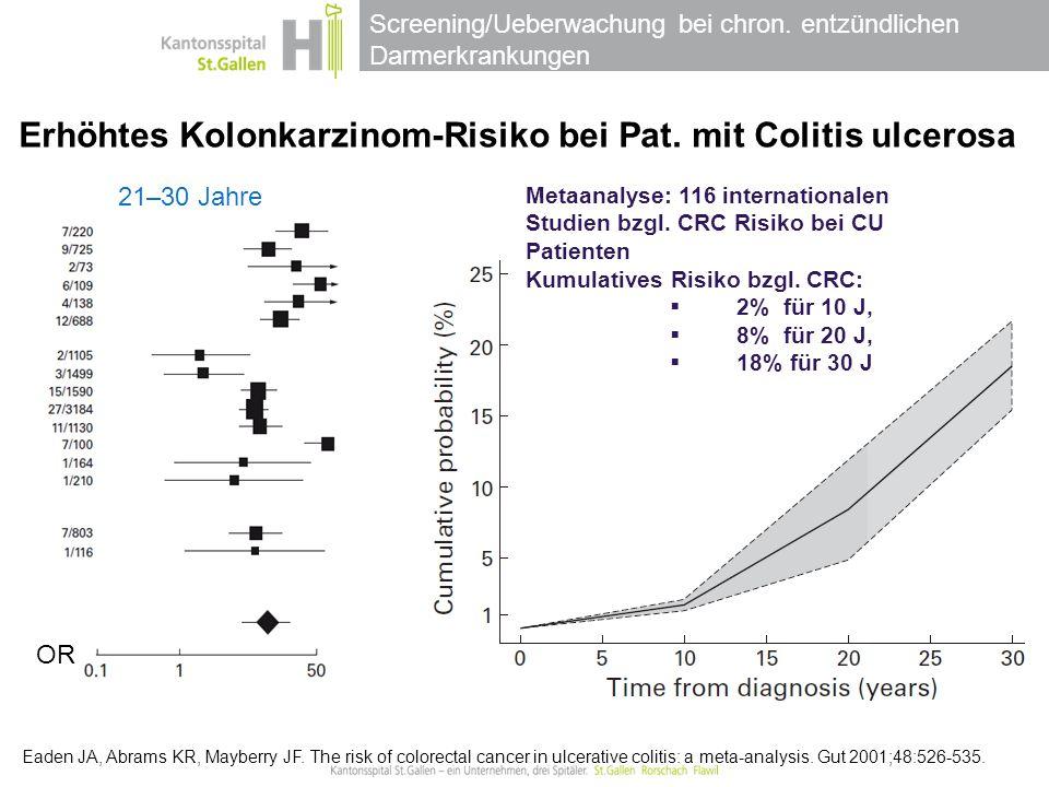 Erhöhtes Kolonkarzinom-Risiko bei Pat. mit Colitis ulcerosa