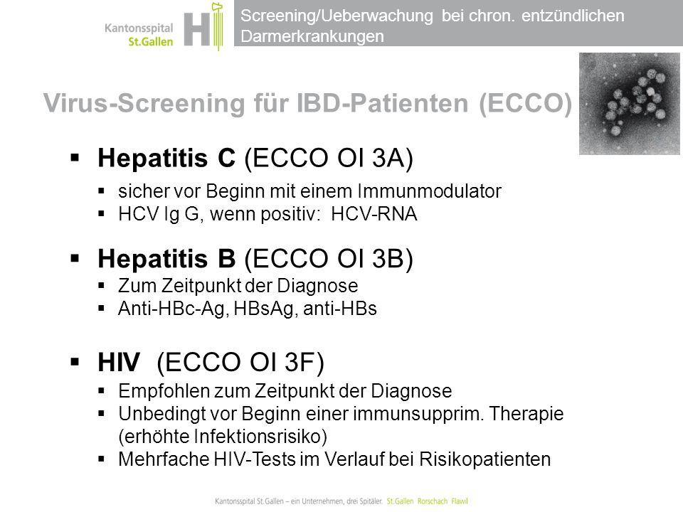 Virus-Screening für IBD-Patienten (ECCO) I