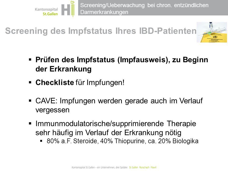 Screening des Impfstatus Ihres IBD-Patienten