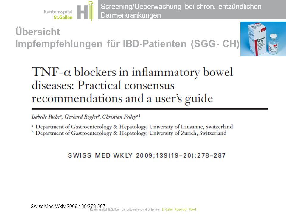 Übersicht Impfempfehlungen für IBD-Patienten (SGG- CH)