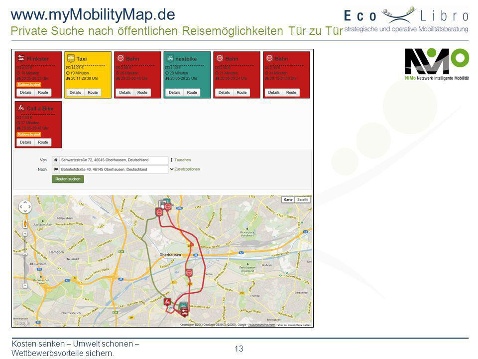 www.myMobilityMap.de Private Suche nach öffentlichen Reisemöglichkeiten Tür zu Tür