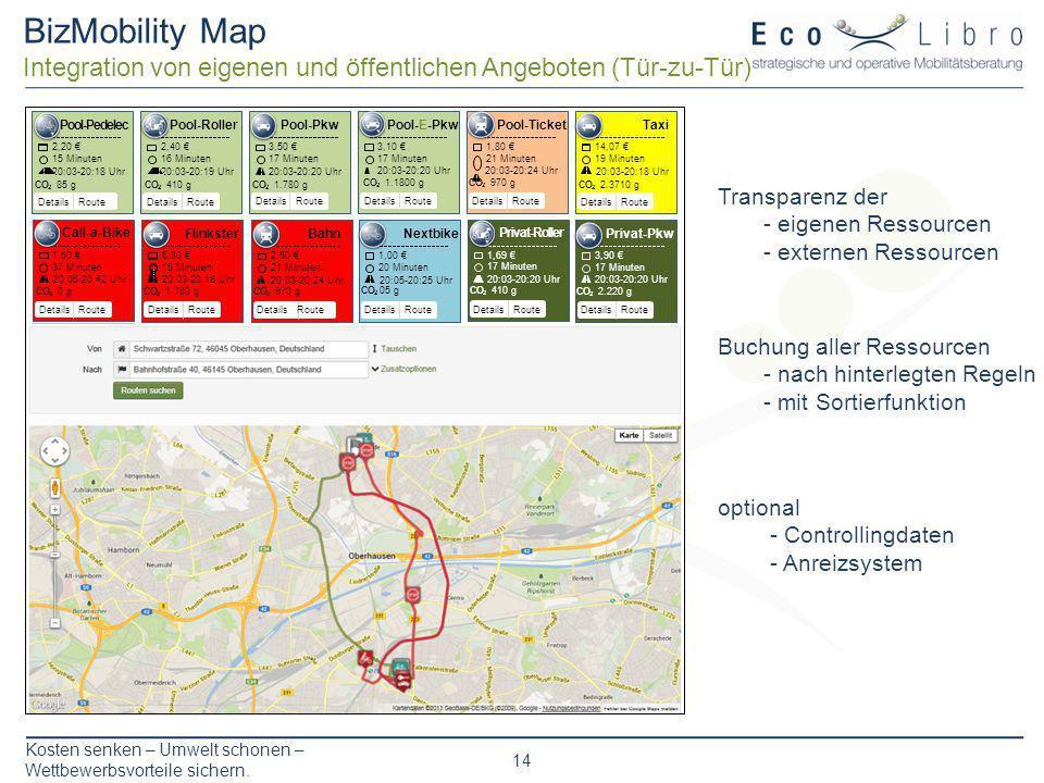 BizMobility Map Integration von eigenen und öffentlichen Angeboten (Tür-zu-Tür) Pool-Pkw. 3,50 € 17 Minuten.