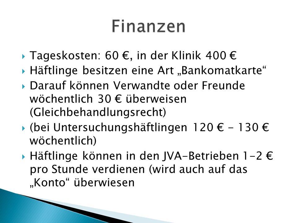 Finanzen Tageskosten: 60 €, in der Klinik 400 €