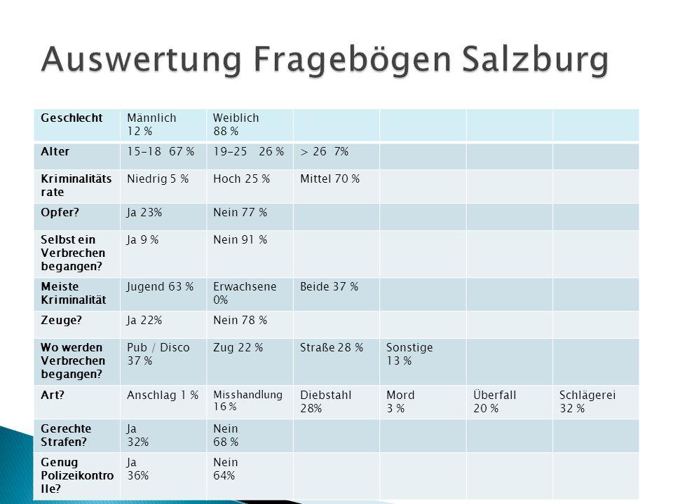Auswertung Fragebögen Salzburg