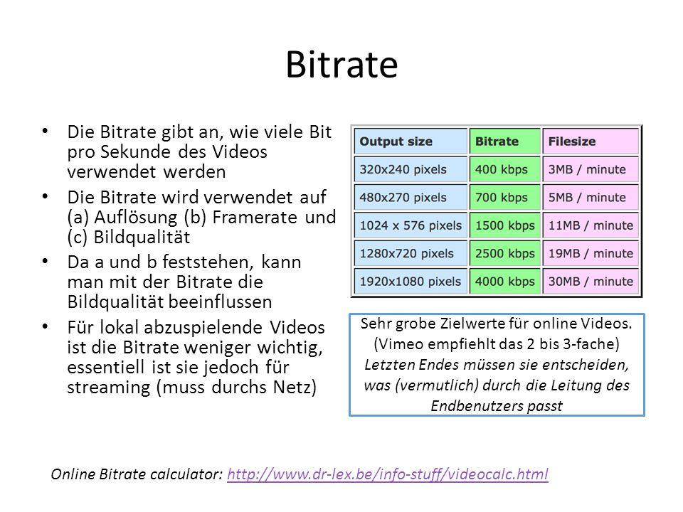 Bitrate Die Bitrate gibt an, wie viele Bit pro Sekunde des Videos verwendet werden.