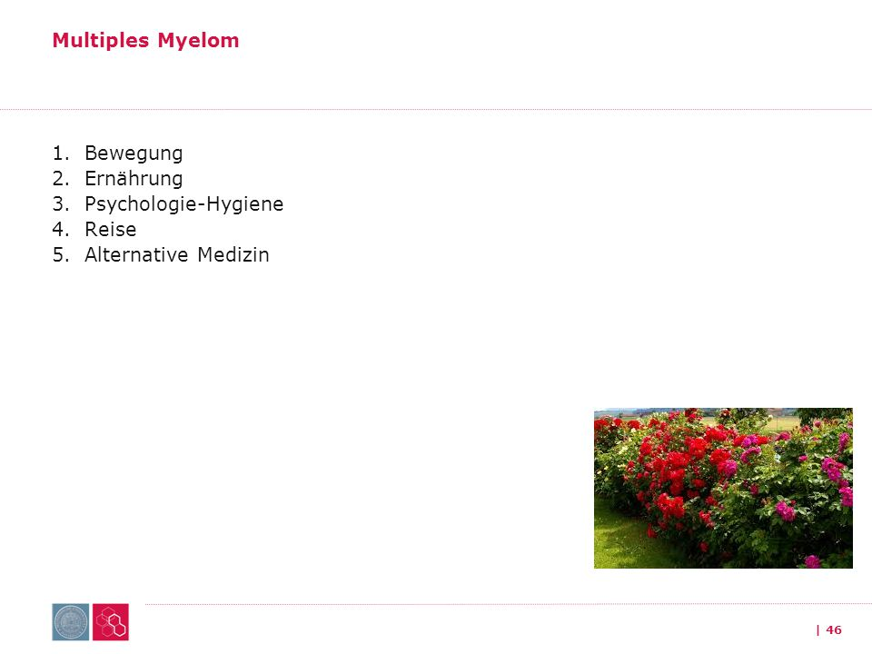 Multiples Myelom Bewegung Ernährung Psychologie-Hygiene Reise Alternative Medizin