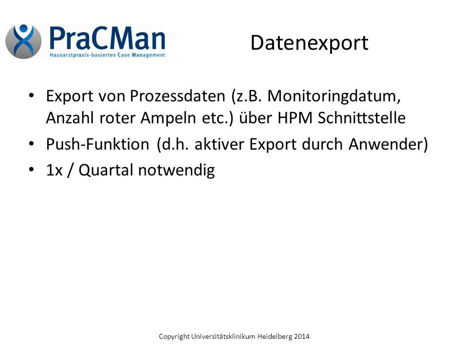 Datenexport Export von Prozessdaten (z.B. Monitoringdatum, Anzahl roter Ampeln etc.) über HPM Schnittstelle.