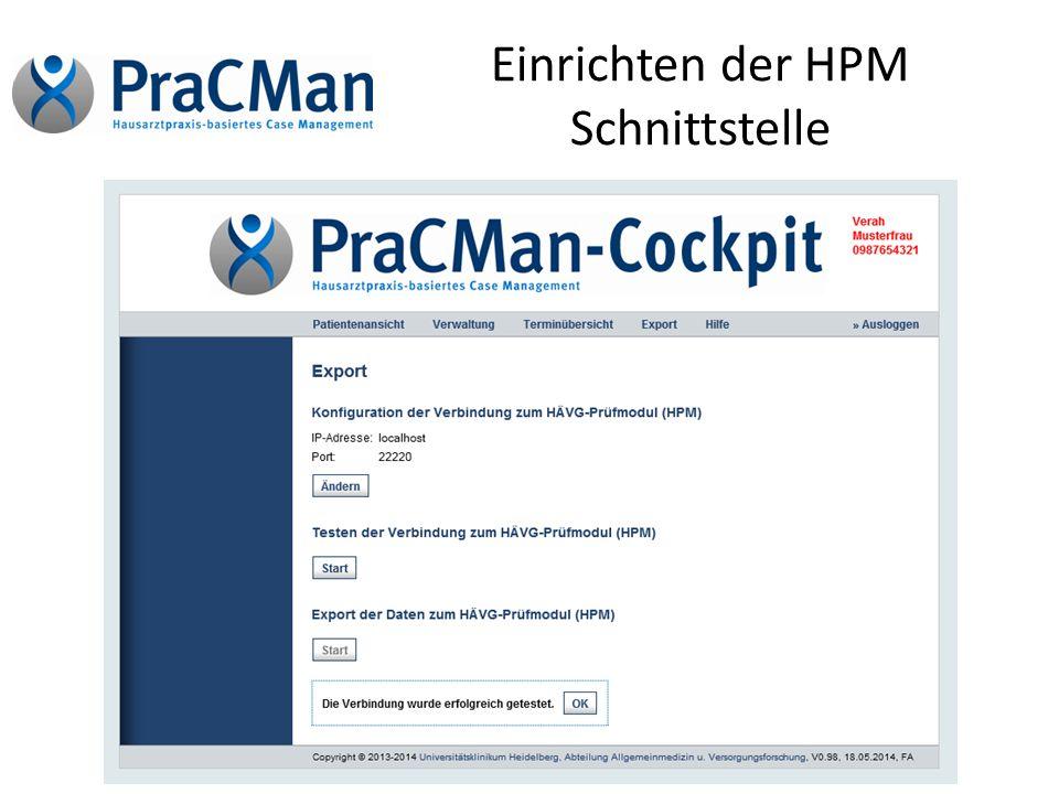 Einrichten der HPM Schnittstelle