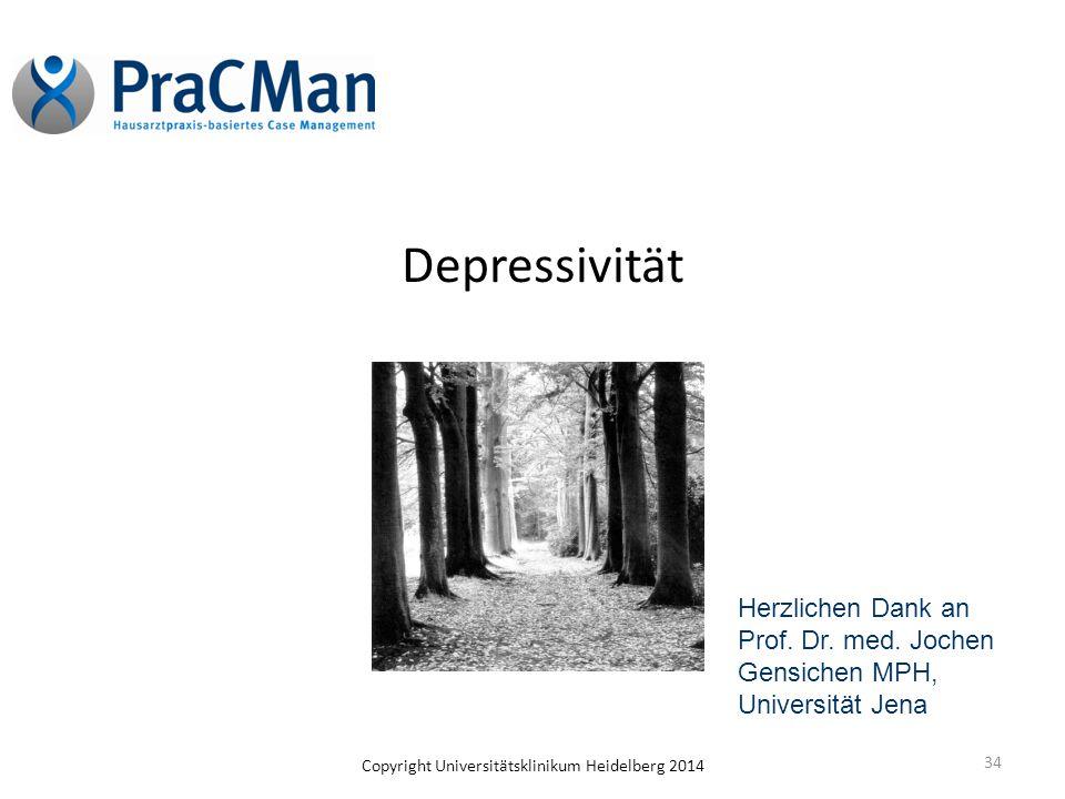 Depressivität Herzlichen Dank an Prof. Dr. med. Jochen Gensichen MPH, Universität Jena